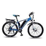 HSART Bicicletas Montaña Eléctricas para Adultos, Batería Extraíble Iones Litio Gran Capacidad (36V, 13AH), Bicicletas Eléctricas Engranaje 30 Velocidades 3 Modos Trabajo (Azul)