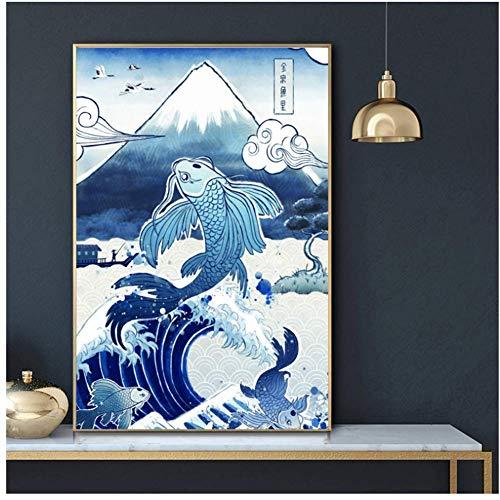 wzgsffs Japan Vintage Kunst Koi Fuji Torii Poster Malerei Kunst Poster Druck Leinwand Home Decor Bild Wanddruck Leinwand Gemälde-20X30 Zoll Rahmenlos