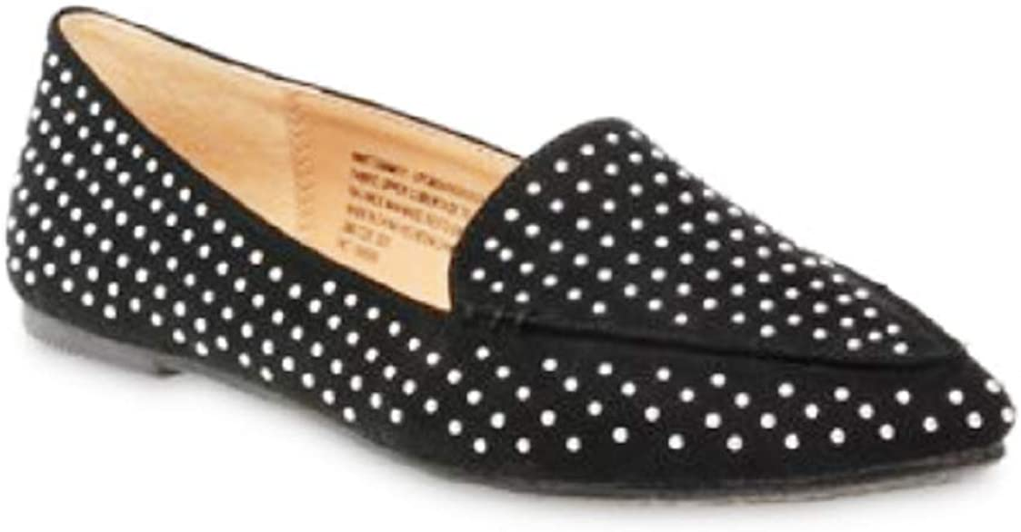Time and Tru Feather Women's Flats Shoe, Black with Chrome Studs (6)