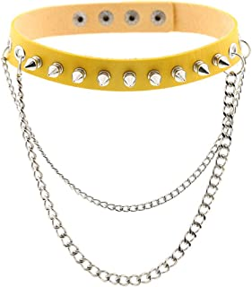 Women Punk Leather Choker Necklaces Girls Spike Studded Chain Rock Adjustable Collar Necklaces