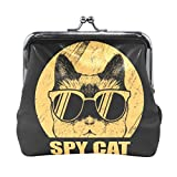 AJINGA Spy Cat Eyeglasses Yellow Coin Purse Pumpkin Leather Coin Wallet Snap Closure Clutch Bag