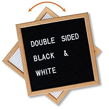 Felt Letter Board Black and White Double Sided 10x10, Stylish Stand and 600 Changeable Letters. American Oak Frame. Personalized Messaging Home, Kitchen, Business Open Closed Sign, Coffee Shop Sign
