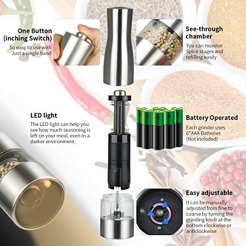 Salt and Pepper Mills Electric Salt and Peppercorn Grinders with Adjustable Ceramic Coarseness - Brushed Stainless Steel and Glass Body Shakers (1) (2)