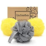 Large 70g Loofah Sponge, Body Scrubber, Bath Sponge, Luxury Loofah for Women, Men | Gentle Exfoliating Sponge - Body Wash Shower Pouf with Activated Charcoal - Lots of Lather for Bath, Shower, 3 Pack