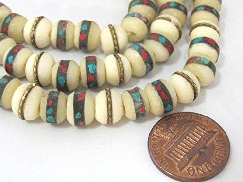 10 beads - 8 mm Tibetan cream white color bone mala turquoise brass coral inlay beads - ML070B