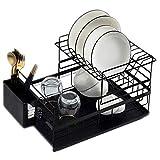 Estante de secado de platos de cocina desmontable de 2 niveles con bandeja de agua soporte para utensilios de encimera de secado de platos set organizador
