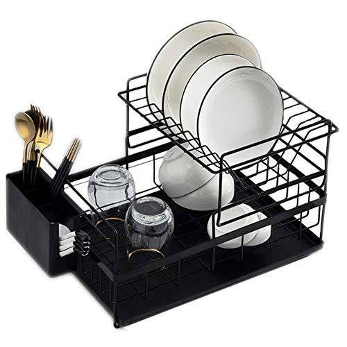 Estante de secado para platos de cocina desmontable de 2 niveles con bandeja de agua para utensilios de cocina para encimera, set organizador