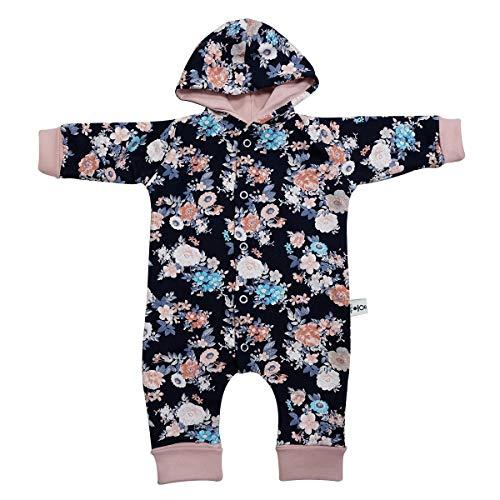 Sharlene Overall Dunkelblau Blumen Babystrampler Neugeborenen Overall in Mitwachsgrößen handgefertigt in Deutschland (50-62)
