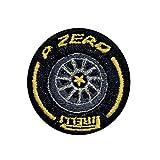 SIGN of MINE Parches para smartphones, bolsos, trolley y portátiles, cuadernos, bordados, autoadhesivos, mejor manufacturía, etiqueta retro Pirelli, negro/amarillo/gris metalizado, 4 cm de diámetro