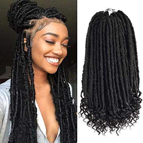 6 Packs Goddess Locs Crochet Hair with Curly Ends Straight Faux Locs Crochet Braids Hair Pre Looped Bohemian Synthetic Braiding Hair Extension 24 Strands/Piece(16 inch,1B#)