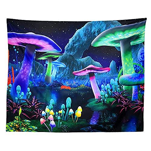 RUMUI Tapiz de Hongos Planta Cielo Nocturno hogar Pared Colgante Alfombra Fluorescente Bosque mágico tapices de árboles 150x150cm