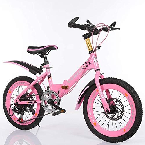 TRGCJGH Bicicletas para Niños Bicicleta De Montaña Plegable De 18/20/22 Pulgadas Bicicleta De Montaña Plegable Horquilla De Suspensión Freno De Disco Bicicleta De Viaje para Niños,Pink-22in