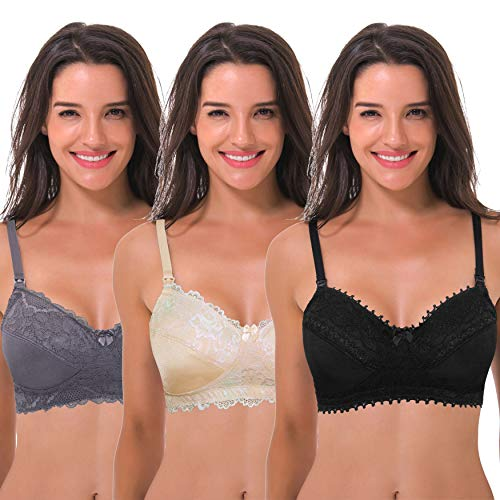Curve Muse Women's Plus Size Nursing Wirefree Bra with Full Figure Lace-3Pack-GRAY,Nude,BLACK-42DDDD