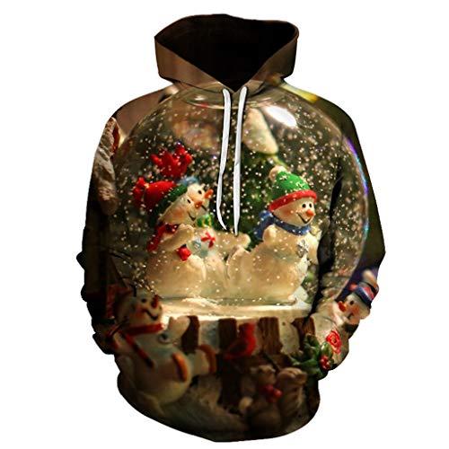 EUZeo Paar Stil Weihnachtspullover Casual Hoodies Top Sweater Pulli Sweatshirt Weihnachtspulli weihnachtlichen Kapuzenpullover Lässiger 3D Druck Kapuzenpulli Weihnachten Sweatshirts