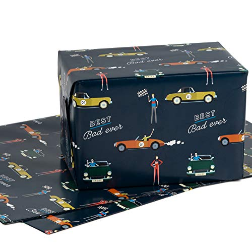 RUSPEPA Hoja De Papel Para Envolver Regalos - Plegada En Plano - 3 Hojas - Diseño De Cumpleaños (22,6 Pies Cuadrados) - 70 cm X 1 m Por Hoja