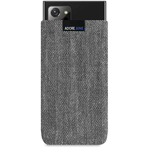 Adore June Business Tasche kompatibel mit Samsung Galaxy Note 20 Ultra Handytasche aus charakteristischem Fischgrat Stoff - Grau/Schwarz, Schutztasche Zubehör mit Bildschirm Reinigungs-Effekt