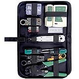 moinkerin Comprobador de Cable de Red, Kit de Herramientas de Reparación de Red RJ45 RJ11 Cat5 Alicate Pelacables Kit de Herramienta de Los Conectadores