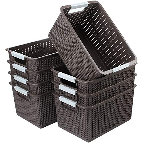 CBTONE Set of 8 Plastic Storage Baskets, Small Woven Organizer Bin with Handles for Bathroom, Health, Cosmetics, Hair Supplies, Beauty Products and Kitchen (Brown, 10.5x7.3x5.5)