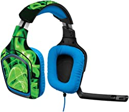 MightySkins Skin Compatible with Logitech G430 Gaming Headset - Green Flames   Protective, Durable, and Unique Vinyl Decal wrap Cover   Easy to Apply, Remove, and Change Styles   Made in The USA