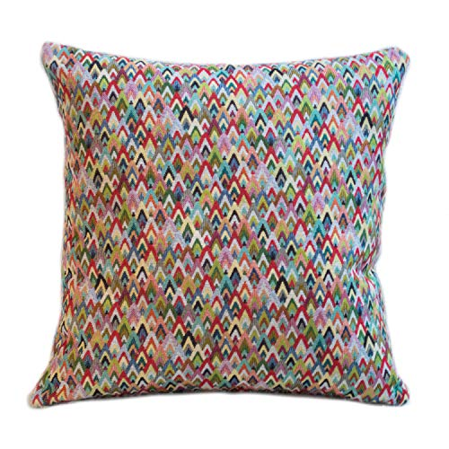 Geometric Tapestry Double Sided Cushion Cover. 17'x17' Square Pillow Case. Multicoloured woven design. Geometric modern traditional Turkish Kilim Style Weave.