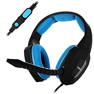 Customer reviews Stereo Gaming Headset Headphones Wired for PS4 Xbox One PC Laptop with Detachable MIC Mute Switch Alternative Comfotable softLeather Earcap Blue badasheng