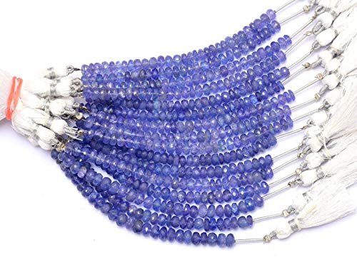 """Cuentas Rondelle facetadas de 4 mm a 5 mm de piedras preciosas de tanzanita AAA +   Hebra de 3.5 """"  Perlas de Rondelle de piedras preciosas preciosas de tanzanita natural rara para joyería"""
