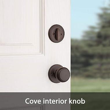 Kwikset 96870-100 Belleview Single Cylinder Handleset with Cove Knob featuring SmartKey Security in Venetian Bronze