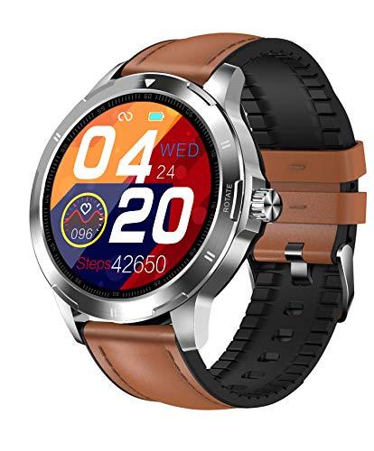 Smartwatch Aktivitätstracker - Touch Farbdisplay Fitness Armbanduhr mit Körperthermometer Pulsschlag Blutdruck Blutsauerstoff Schlaf Überwachung,IP67 Sportuhr mit Schrittzähler Stoppuhr (Silber-Leder)