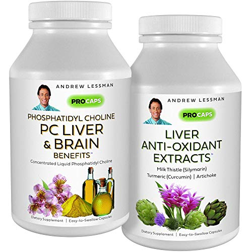 Andrew Lessman PC Liver & Brain Benefits + Liver Anti-Oxidant Extracts Kit: 90 Capsules(60sg+30cp) – Phosphatidyl Choline, Milk Thistle, Artichoke, Curcumin. Supports Healthy Liver & Brain Function