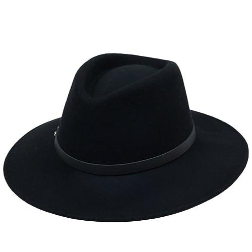 dcb8da1ca3fd3 Kapmore Hombres Unisex Llanura de Fedora del Fieltro del Sombrero del  Gángster Correa Correa de Cuero