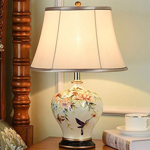Nachttischlampe New Chinese Keramik Schlafzimmer Tischlampe Moderne Minimalistische Amerikanische Land Europäische Studie E27