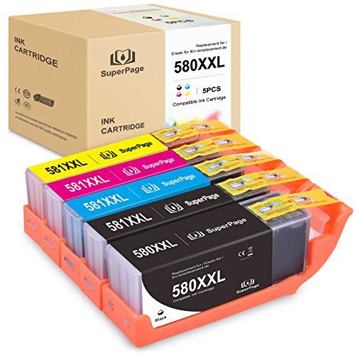 5 Superpage Druckerpatronen Kompatibel Canon PGI-580 CLI-581XXL für Canon PIXMA TS6150 TS6151 TS6250 TR7550 TR8550 TS8150 TS8151 TS8152 TS8251 TS8252 TS9150 TS9155 (Schwarz/Cyan/Magenta/Gelb)