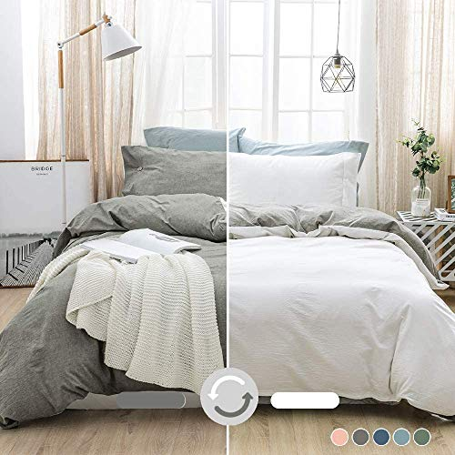 MILDLY 100% Washed Cotton Soft Duvet Cover Set Queen,...