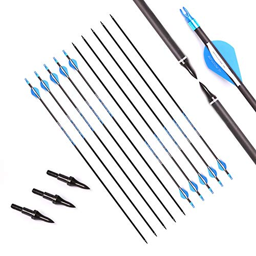 33 Inch Arrow 500 Spine Arrow Target Practice Arrow Hunting Arrow Carbon Arrows Compound Bow Recurve Bow Adult Youth Archery Indoor Outdoor Shooting Field Tip 12pc
