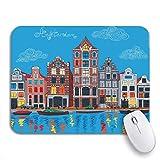Alfombrilla de ratón para juegos Vista de la ciudad del canal de Amsterdam Casas típicas holandesas Alfombrilla de ratón antideslizante Computadora Alfombrilla para portátiles Alfombrillas de ratón