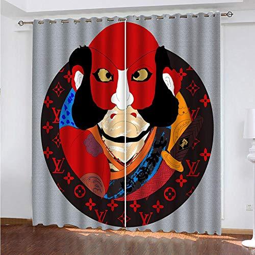 KTBDWOSM Vorhang Blickdicht Ösenschal Verdunkelungsvorhang 3D Drama-Maske 170 X 200 cm (B X H) Muster Gardinen Kinderzimmer Schlafzimmer Thermovorhang Weihnachtsdeko Vorhänge 2Er Set