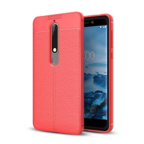 GUOQING for Nokia 6.1 Case,for Nokia 6 2018 Case,Shockproof High Impact Tough Rubber Rugged Hybrid Case Protective Anti-Shock Shatter-Resistant Mobile Phone CaseLeather Texture (Color : Red)