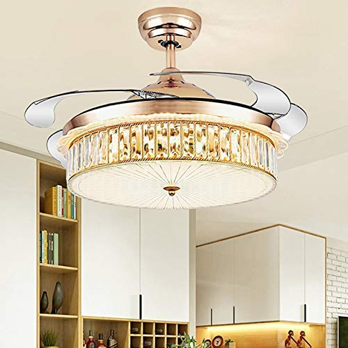 BBZZ Lámpara de techo de estilo nórdico y moderno, LED negativo, luz de ventilador invisible, ventiladores con luces y mando a distancia, atenuación tricolor inteligente, iluminación decorativa