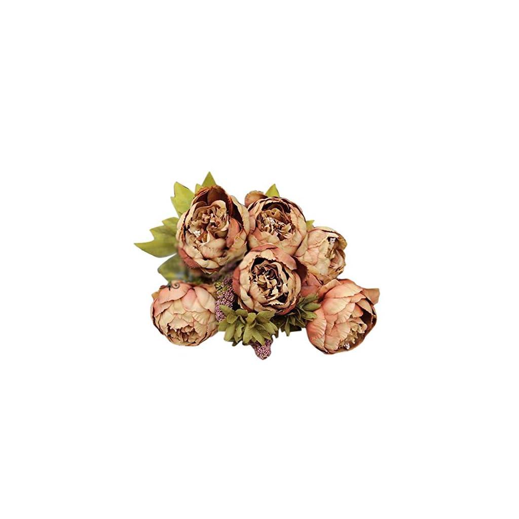 Iulove 1Bouquet 8 Heads Artificial Peony Silk Flower Leaf Home Wedding Party Decor