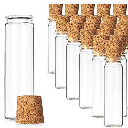 Liuer 20PCS Pequeñas Botellas de Cristal Botellas de Vidrio Pequeñas Frascos de Muestra con Tapones de Corcho Latas Vacías para Latas de té Especias,Té,Dulces,Regalos para Fiestas (20ml)