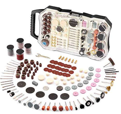 Rotary Tool Accessories Kit, Ginour 318 Pcs 1/8-inch Diameter Shanks Universal Fitment for Cutting, Grinding, Sanding, Sharpening, Polishing, Engraving, Drilling, Cleaning