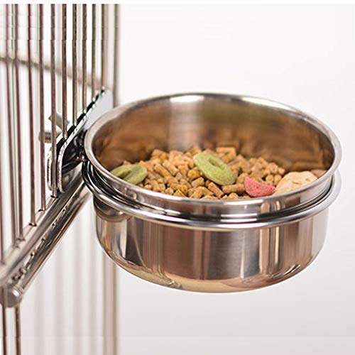 Old Tjikko Small Dog Cats Bowl,Pet Food Bowls 0oz 20oz 30oz Bird Hamster Small Animal Cup with Holder,Stainless Steel Cage Coop Hook Cup for Small Animal Cage Bowl (1pc-30oz Stainless Steel Bowl)