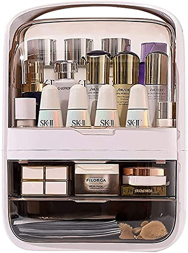 Large Acrylic Makeup Organizer with Lid Cosmetic Storage Drawers Portable Makeup Organizers Dustproof and Waterproof Box for Women