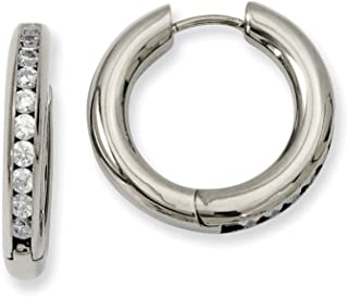 52mm x 52mm Mia Diamonds 925 Sterling Silver Solid Rhodium-Plated Cubic Zirconiain and Out Hinged Hoop Earrings