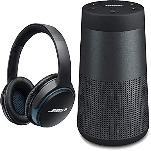 Bose Auriculares Supraurales Bluetooth con Micrófono, Control Remoto Integrado, Color Negro + Revolve Altavoz portátil con Bluetooth, Color Negro