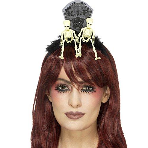Amakando Skelett Diadem Friedhof Gothic Kopfschmuck RIP Tag der Toten Haarreif Sugar Skull Haarschmuck Kostüm Accessoire Damen Halloween Tiara Grabstein