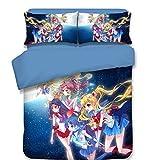 Ailancos Sailor Moon - Juego de funda de edredón de 3 piezas, estampado AC, para niños y adultos, transpirable, suave, tamaño Queen