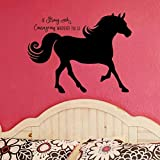 Horse Silhouette with Inspirational Quote Vinyl Wall Decal, Horse Gift For Girls, 36'X27' Black
