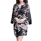 VILLAVIVI Vestido Párrafo Corto Mujer Kimono Pavo Flores Satén Albornoces Pijamas (L, Negro)