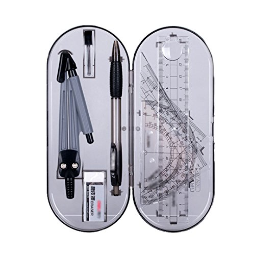 Danse Jupe Math Geometry Kit Set 8Pcs Student Supplies with Storage Box,Includes Rulers,Protractor,Compass,Pencil,0.7mm Lead Refill,Eraser for School&Home&Office and Engineering Drawings Grey